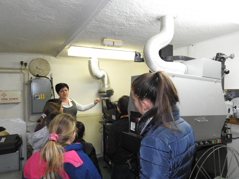 Students visited the cinema cabin.